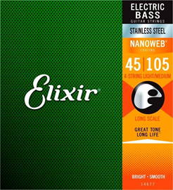 Elixir 14677 Electric Bass NANOWEB Medium Long S...