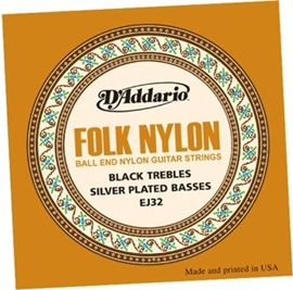 D'Addario EJ32 Folk Nylon Silver/Ball End Black ...