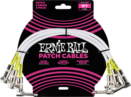 Ernie Ball Angle Patch Cable 30cm White 6055 3-P...