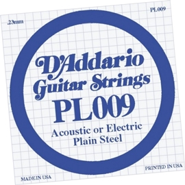 DAddario PL009 Single Plain Steel .009 Acoustic/...