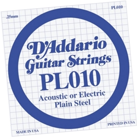 DAddario PL009 Single Plain Steel .010 Acoustic/...